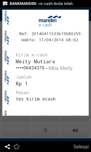 bukti transaksi e-cash