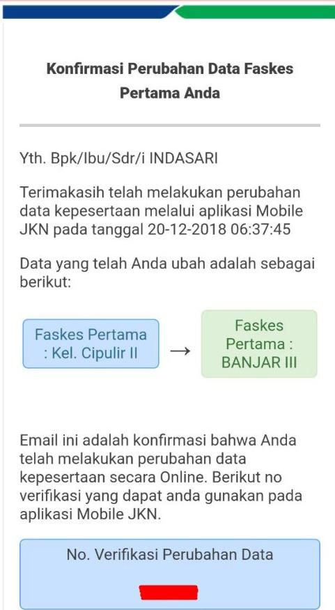 konfirmasi perubahan data ke email